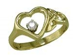 Open Heart Celtic Ring with Diamond