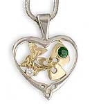 Heart Pendant w/Tsavorite & Diamond