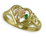 Open Heart Celtic Ring w/shamrock and Tsavorite
