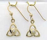 14K Sm Open Triquetra earrings with Diamonds SW4191E