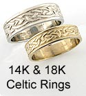 Gold Celtic Rings & wedding bands