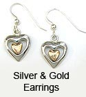 Unique silver & gold earrings